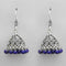 Jeweljunk Blue Beads Rhodium Plated Jhumki Earrings