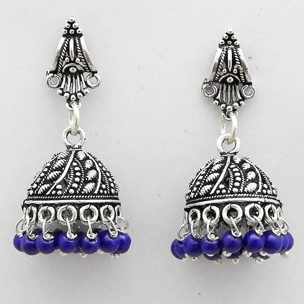 Jeweljunk Rhodium Plated Purple Beads Dangler Earrings