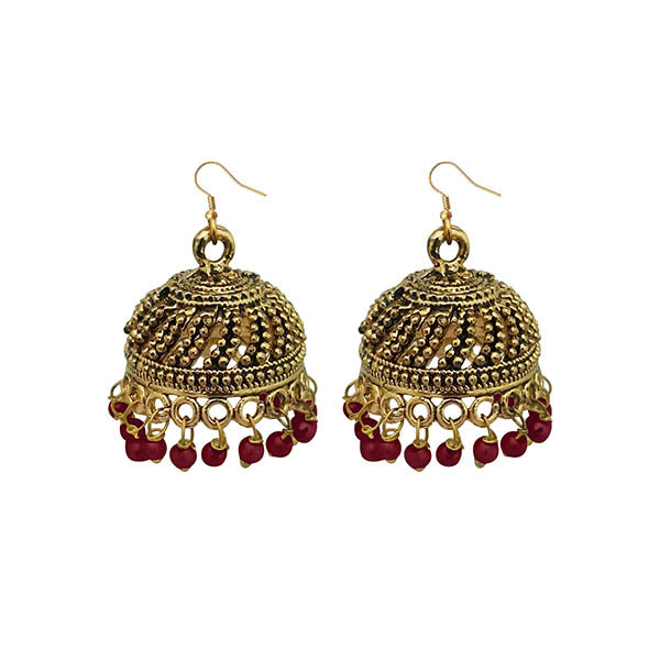 Jeweljunk Maroon Beads Antique Gold Plated Jhumki Earrings