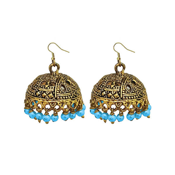 Jeweljunk Antique Gold Plated Blue Beads Jhumki Earrings
