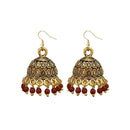Jeweljunk Antique Gold Plated Maroon Beads Jhumki Earrings