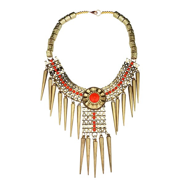 Jeweljunk Orange Beads Gold Plated Statement Necklace