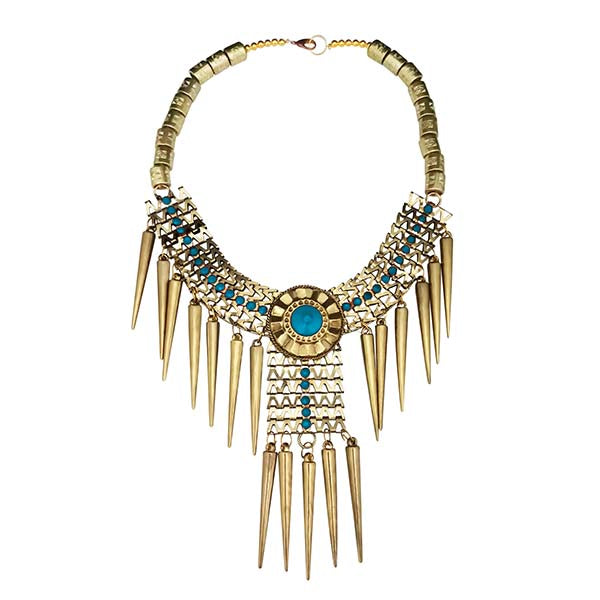 Jeweljunk Blue Beads Gold Plated Statement Necklace