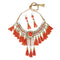 Jeweljunk Orange Thread Gold Plated Statement Necklace