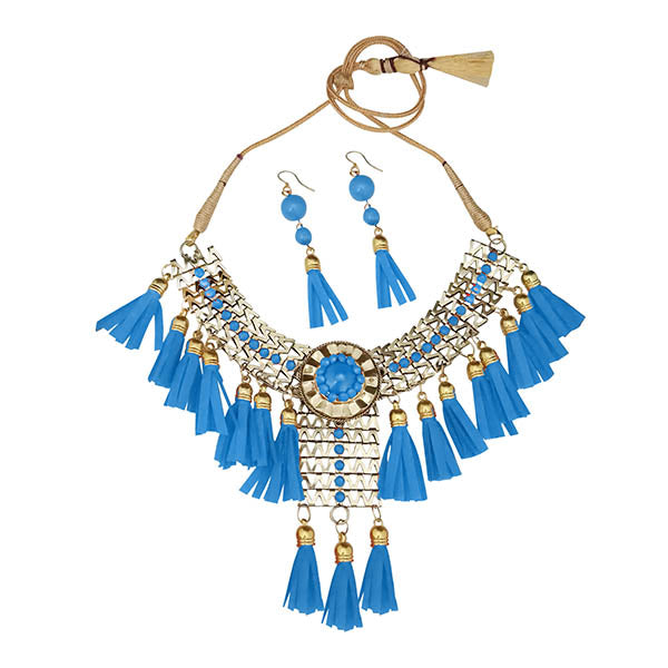 Jeweljunk Blue Thread Gold Plated Statement Necklace