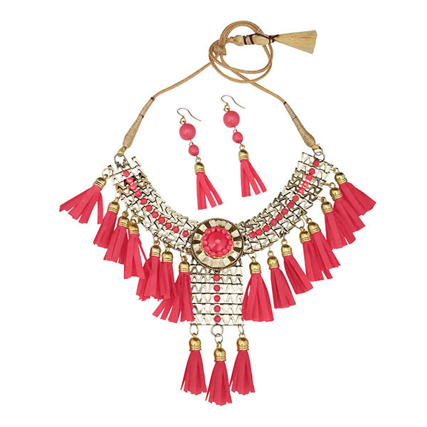 Jeweljunk Pink Thread Gold Plated Statement Necklace
