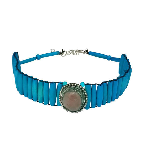 Jeweljunk Blue Beads Statement Necklace