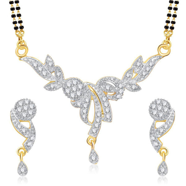 Morini American Diamond Gold Plated Mangalsutra Set