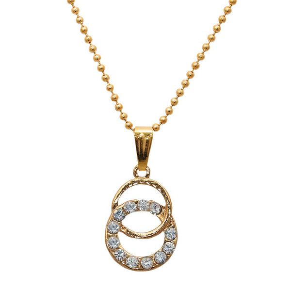 Regina White Stone Gold Plated Chain Pendant