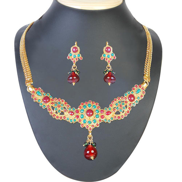 The99Jewel Green & Maroon Stone Necklace Set