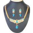 Soha Fashion Blue Kundan Pearl Gold Plated Necklace Set