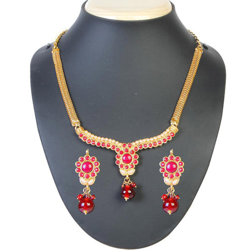 The99Jewel Pink Pota Stone Floral Design Necklace Set