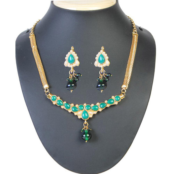 The99Jewel Green Pota Stone Pearl Necklace Set