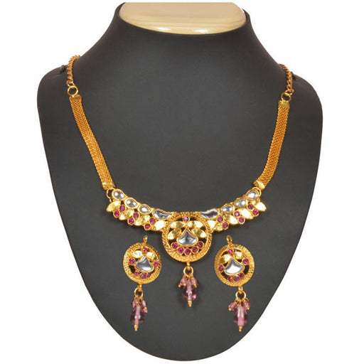 The99jewel Pink Kundan Austrian Stone Necklace Set