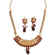 The99Jewel Maroon Kundan Pearl Necklace Set - 1101015  - NB