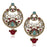 The99Jewel Red Stone Pearl Dangler Earrings