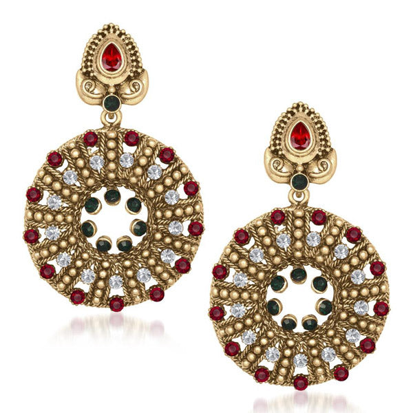 The99Jewel Red & Green Stone Dangler Earring