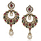 The99Jewel Red Stone Pearl Drop Dangler Earrings
