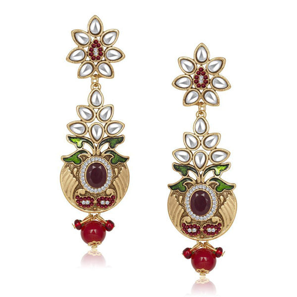 The99Jewel Kundan Green Meenakari Dangle Earrings