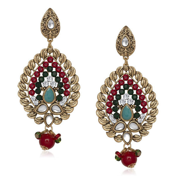 The99Jewel Kundan Red Stone Dangler Earring