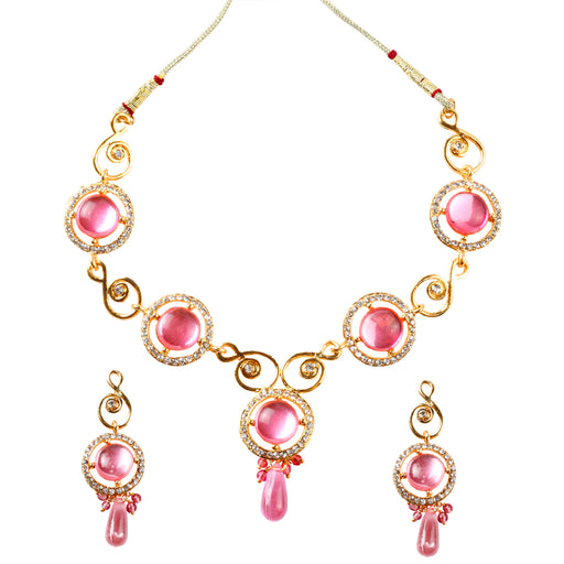 Soha Fashion Pink Kundan Austrian Stone Drop Necklace Set