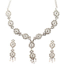 Soha Fashion Silver Plated White Stone Necklace Set