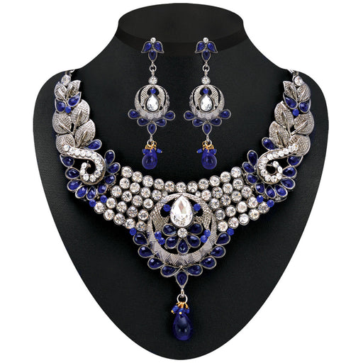 Soha Fashion Gold Plated Blue Austrian Stone Necklace Set