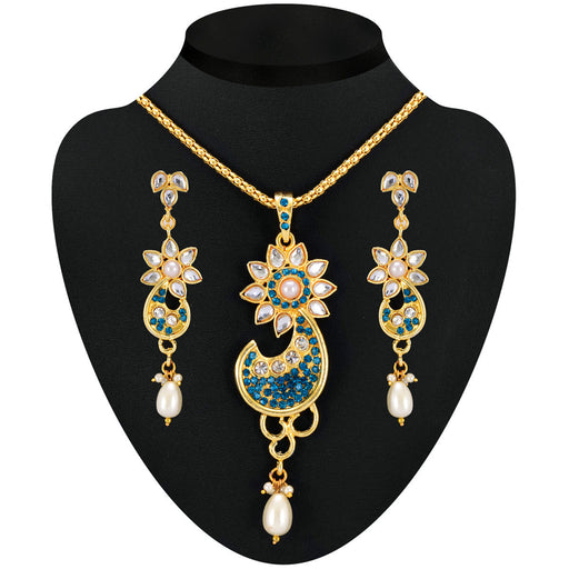 Soha Fashion Blue Austrian Stone Kundan Pendant Set