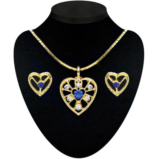 Soha Fashion Blue Stone Gold Plated Pendant set