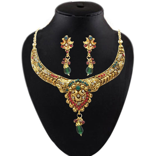 Soha Fashion Green & Red Pota Stone Necklace Set