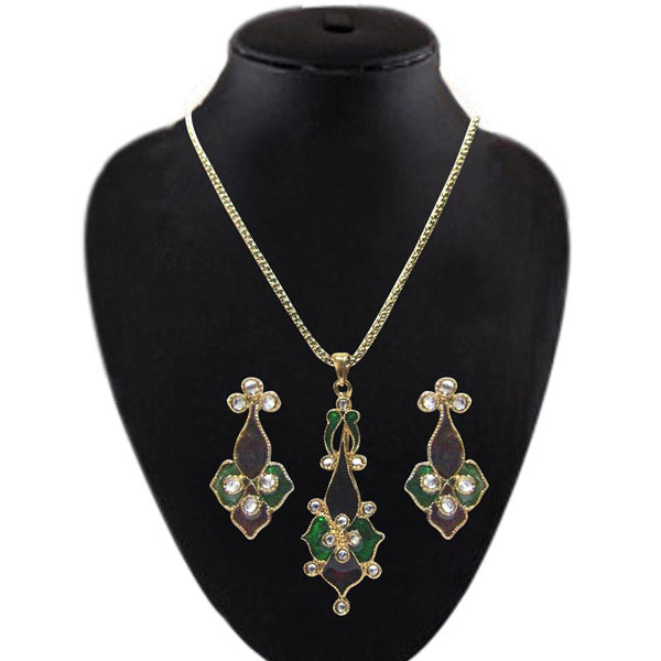 Soha Fashion Green Meenakari & Stone Pendant Set