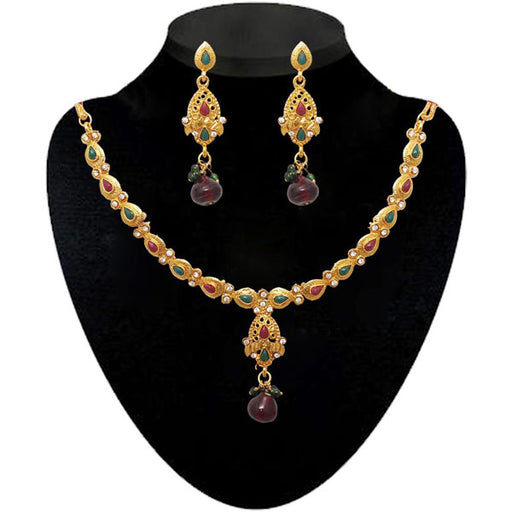 Soha Fashion Multicolour Maroon Pota Stone Necklace Set