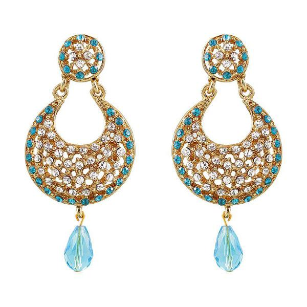 Soha Fashion Blue Austrian Stone Gold Plated Chandbali Earrings