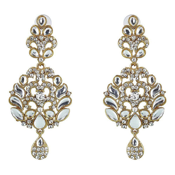 Soha Fashion Gold Plated Kundan Austrian Stone Dangler Earrings