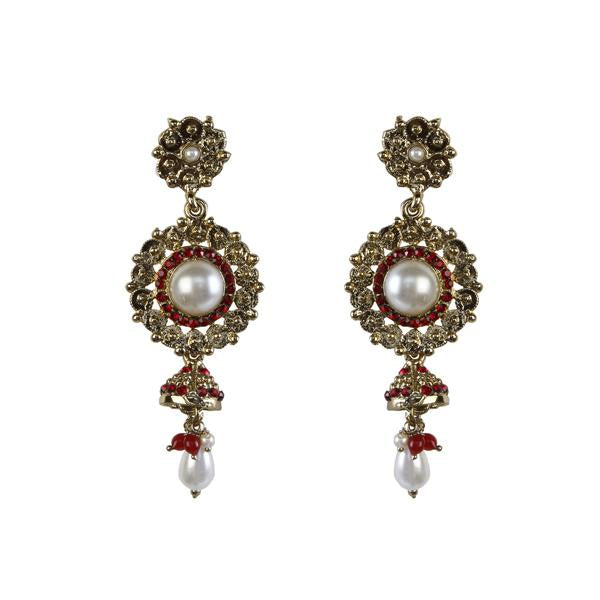Soha Fashion Red Austrian Stone Gold Plated Dangler Earrings
