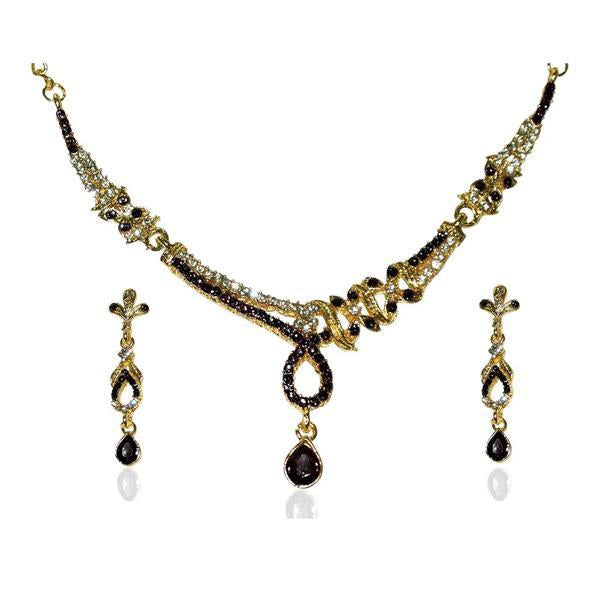 The99Jewel Black Austrian Stone Gold Plated Necklace Set