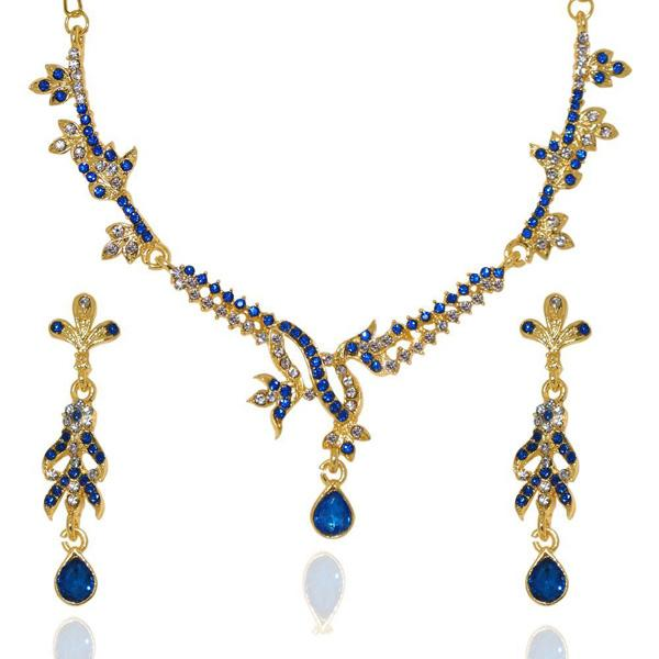 The99Jewel Blue Stone Gold Plated Necklace Set