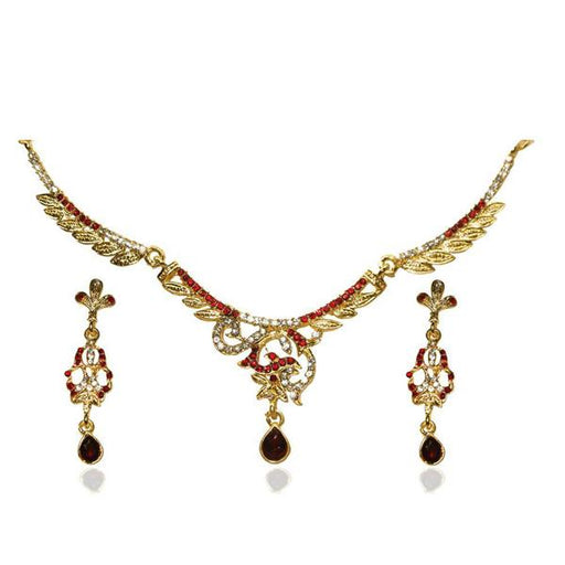 The99jewel Red Austrian Stone Drop Necklace Set