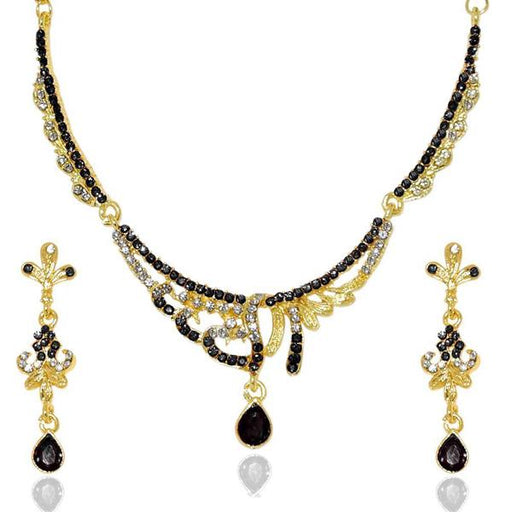 The99jewel Black Stone Gold Plated Necklace Set