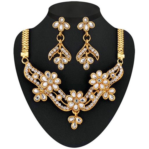 Soha Fashion Gold Plated White Kundan Stone Necklace Set