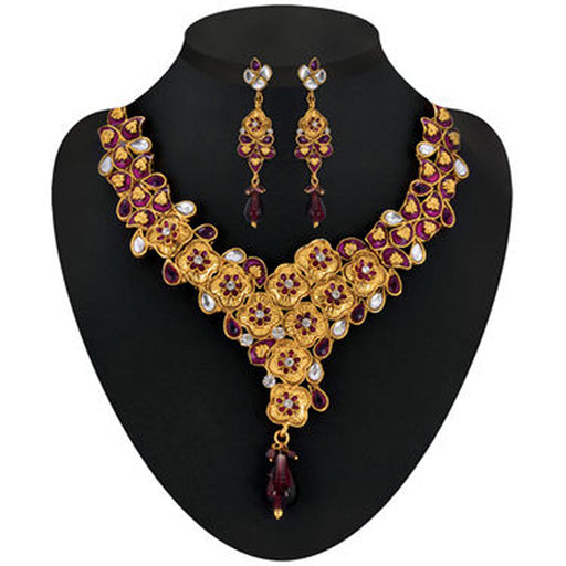 Soha Fashion Purple Meenakari Gold Plated Necklace Set