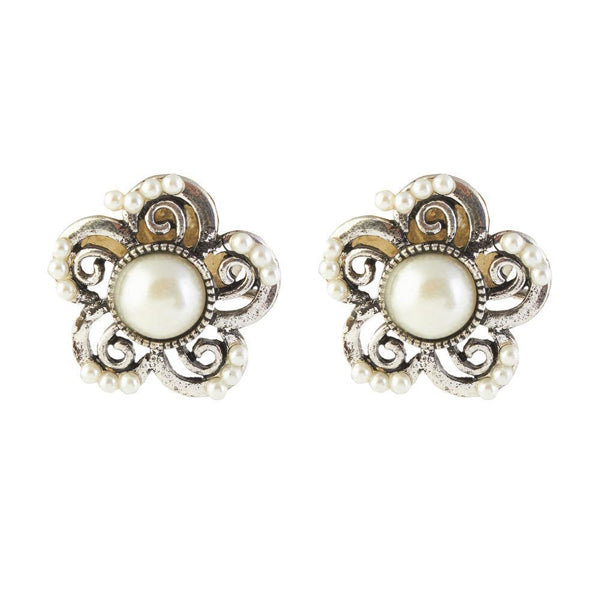 The99Jewel Pearl Silver Plated Stud Earrings