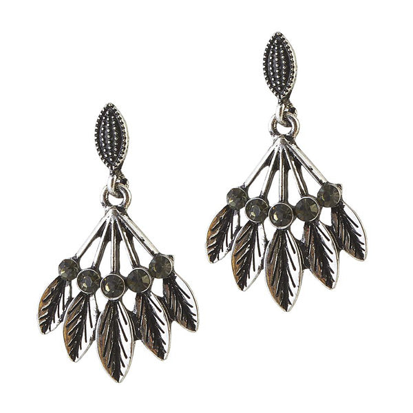 The99Jewel Stone Black Oxidised Dangle Earring