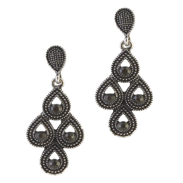 The99Jewel Stone Black Oxidised Dangler Earring
