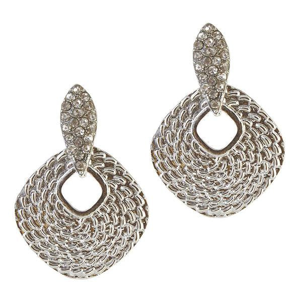 The99Jewel Stone Rhodium Plated Dangler Earrings