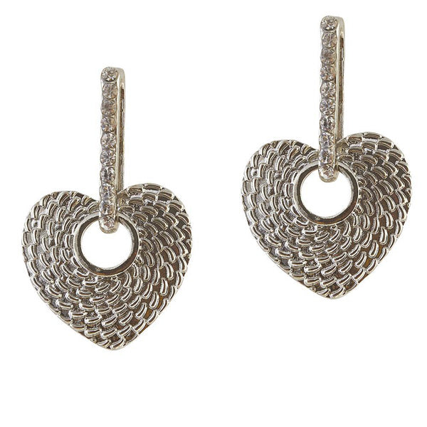 The99Jewel Austrian Stone Heart Rhodium Plated Stud Earrings