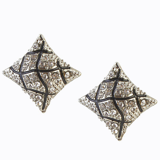 The99Jewel Stone Rhodium Plated Stud Earring