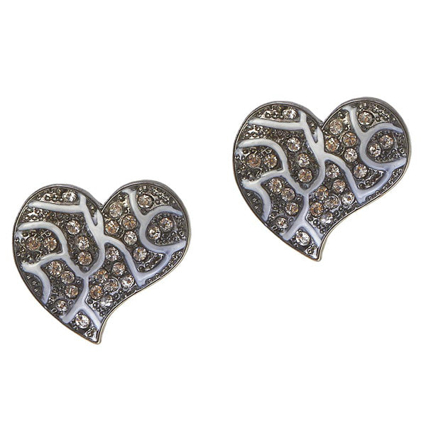 The99Jewel Heart Black Oxidised Studs Earrings