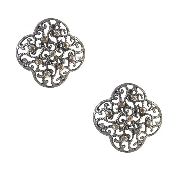 The99Jewel Stone Heart Black Oxidised Studs Earring