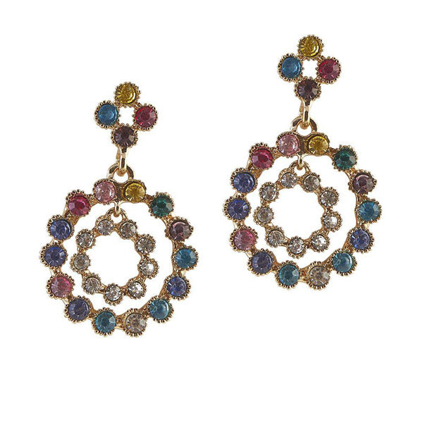 The99Jewel Austrian Stone Gold Plated Dangler Earrings